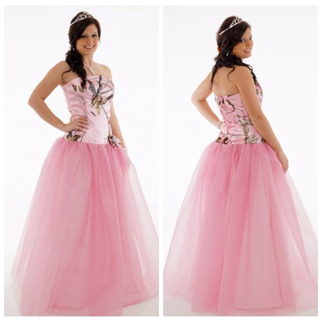 2017 Camo Rosado Top Sweetheart Vestidos de Novia de Tul Falda de ...