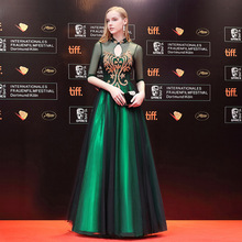 7a4347128 Luxury Chinese Evening Dress Long Cheongsam Green Bride Wedding Qipao  Oriental Style Party Dresses Robe Chinoise