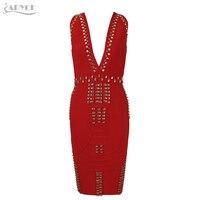 Adyce 2017 Yeni Kadın Bandaj Elbise Lüks Siyah Kırmızı Beyaz Boncuk Ünlü Diz Boyu Elbiseler Akşam Parti Elbise Vestidos