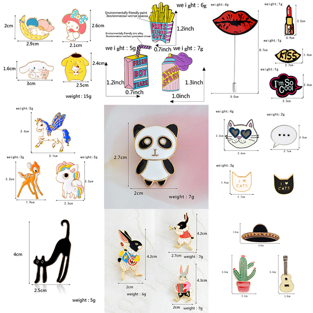 9 sets Cartoon Aminal Enamel Pins Weird cat Cute horse Play Rabbit Brooches for women Lipstick Lip print lapel pin badge Jewelry 5