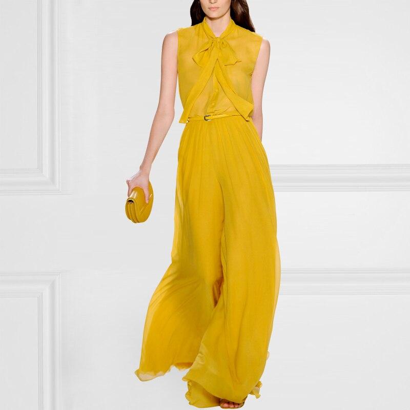 Лидер продаж ограниченной лук Свободные Твердые Enteritos комбинезон женские комбинезон, костюм комбинезон летние длинные штаны шелковые широ