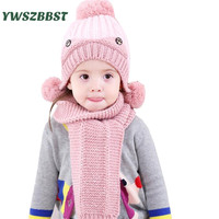 Winter Baby Hat For Kids Pom Pom Hat Scarf Set Baby Winter Crochet Earflap Hat Girl