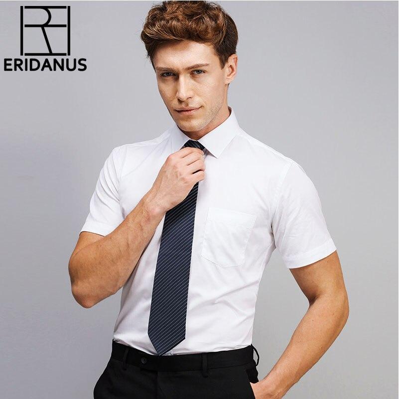 2017 Frühling Sommer Neue Ankunft Einfache Designer Hohe Qualität Solide Männlich Kurzarm Slim Fit Formal Männer Hemden M475