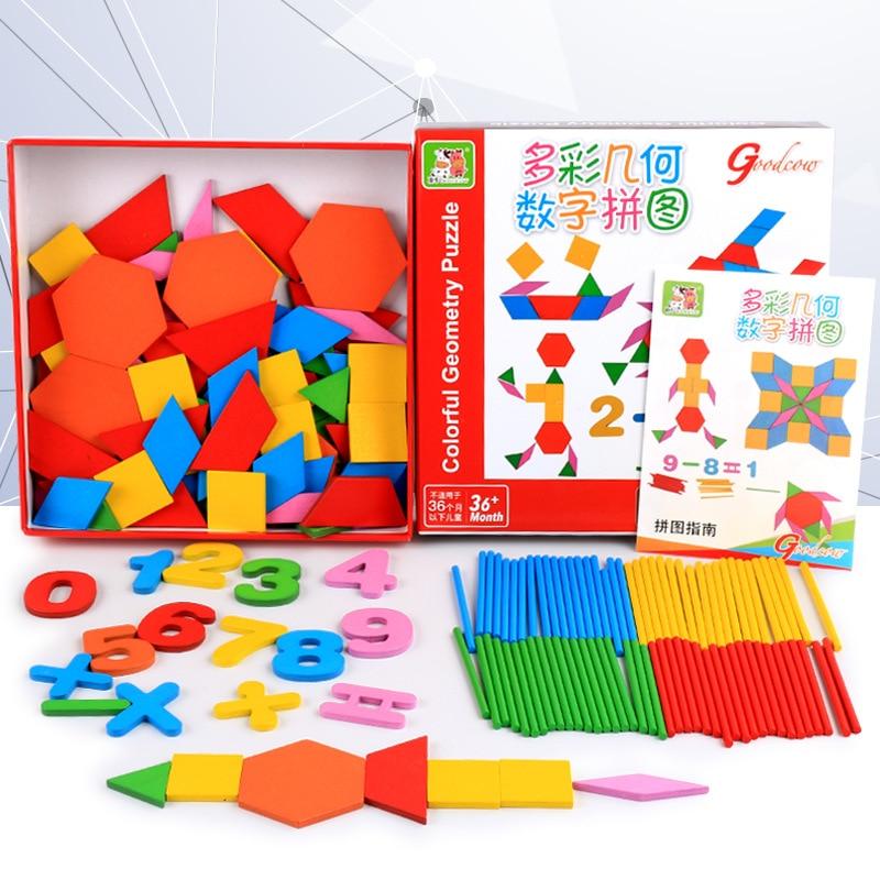 Free shipping Baby Geometry digital blocks shape digital building block bar operation creative Blocks, Kids wooden blocks