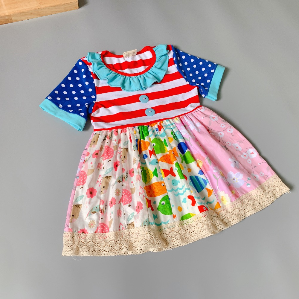 100% cotton Toddler Summer multicolor with print ruffles Baby Girls dress Hot Sale New style Dress red streak
