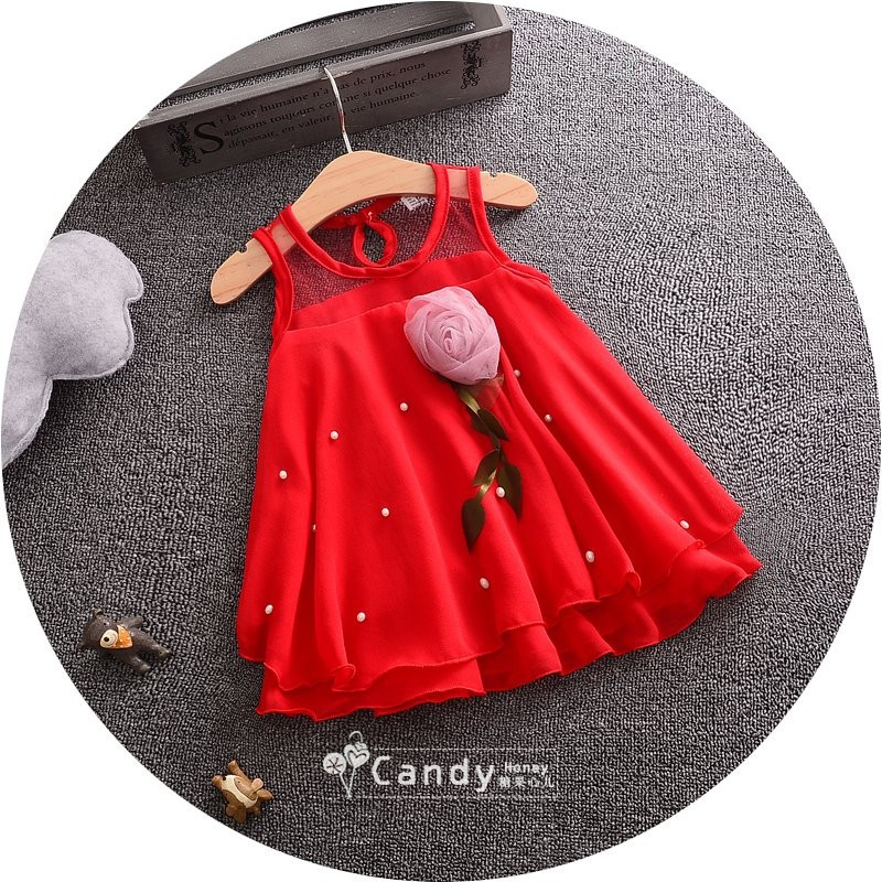 New listing 2017 new Korean version of the children clothing summer fine chiffon girl flowers girl nail beads chiffon dress bab