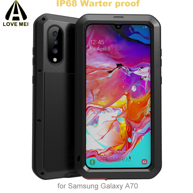 LOVEMEI Powerful IP68 Waterproof Shockproof Metal Case For  Samsung Galaxy A70 Aluminum Silicone Tempered Glass Phone Cover  BagFitted Cases