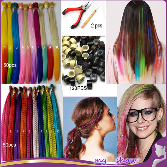 100pcs 16 Mixed Color Ombre I Tip Hair Extension Two Tones Loop Grizzly Feather Hair Extension Accessories With Beads And Tools On Aliexpress