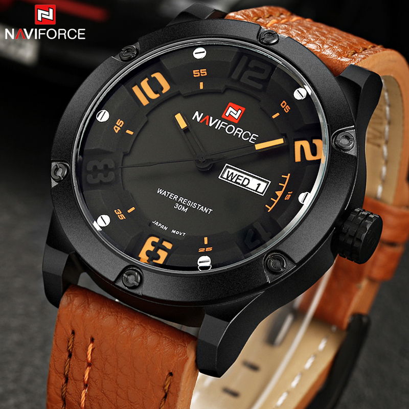 Top Luxury Brand Naviforce Men Sports Watches Men's Quartz Hours Date Clock Male Military Leather Casual Waterproof Wrist Watch vh luxury brand men quartz watches 2017 double time show relojes casual male sports watches clock hours horloges mannen gift