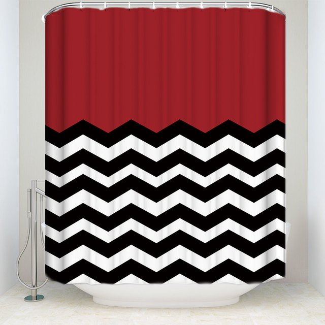 Chevron Waterproof Polyester Fabric Shower Curtain Red White Black Striped Mold Resistant Curtains