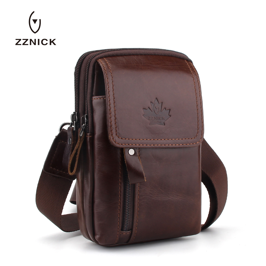 ZZNICK 2019 Men Phone Pouch Bags Genuine Leather Waist Packs Fanny Pack Leather Pouch Travel Waists Bag Male Belt Pack Bag