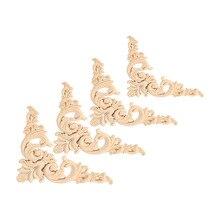 4 шт./компл. 8 см и 12 см Каучуковое Дерево Резные Углу Отделка Аппликация Мебель Форма Цветка Неокрашенной Украшение Мебельные Аксессуары