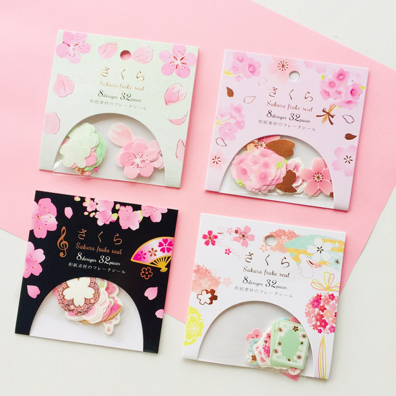 32pcs/Bag Cute Japanese Sakura Paper Decorative Stickers Hand Account Notebook Decor Stick Label
