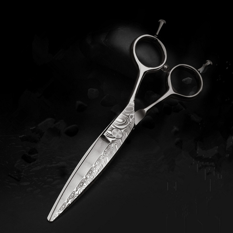 Purple Dragon 6 inch Professional Barber Damascus Willow Knife Water Printi Pattern Hair Cutting Scissors for Right & Left Hand bestlead chinese peony pattern zirconia ceramics 4 6 knife chopping knife peeler holder