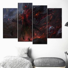Home Decor Print Type Canvas DotA 2 Shadow Fiend Game Poster One Set 4 Piece Modular Style Picture For Living Room Wall Painting лонгслив printio dota 2 shadow fiend
