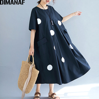 DIMANAF Plus Size Women Dress Fashion Print Dot Pleated Summer Sundress Big Size Female Lady Vestidos Loose Dress Black 5XL 6XL