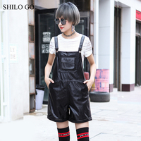 SHILO GO Leather Overalls Womens Summer Fashion sheepskin genuine Overalls metal button spaghetti strap loose causal pants