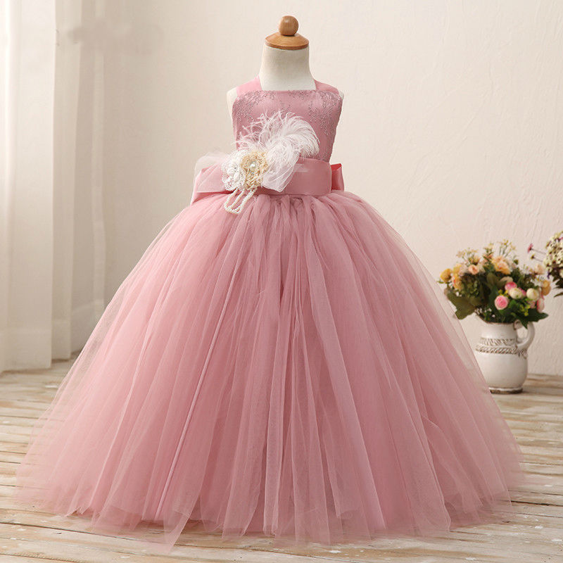 2017 New Flower Girls Dresses For Wedding Gown Ball Gown Vintage Communion Dresses Ankle-Length Mother Daughter Dresses With Bow 2017 new flower girls dresses for wedding gown ball gown vintage communion dresses ankle length mother daughter dresses with bow