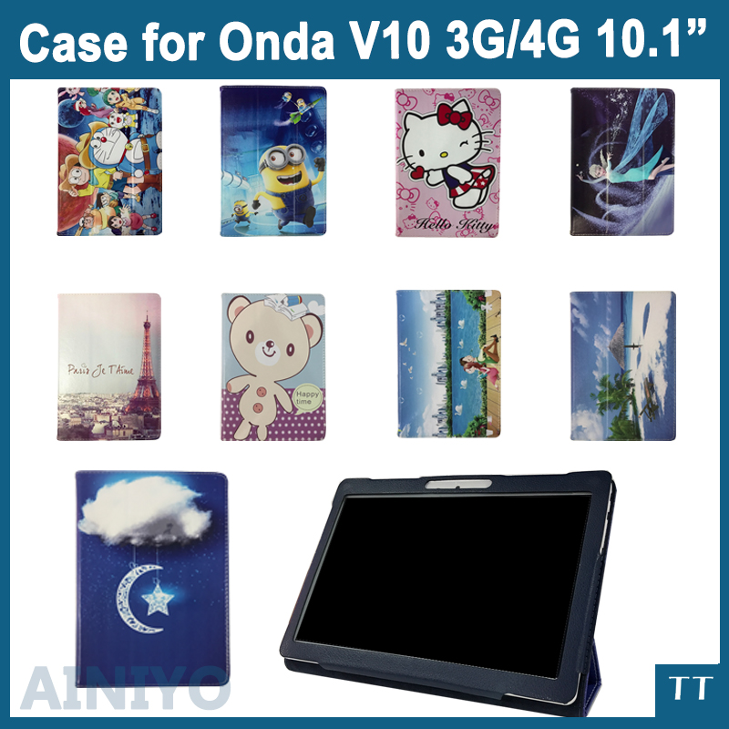 For Onda V10 4g case Fashion 3 fold Folio PU leather stand cover case for Onda V10 3G/4G 10.1inch tablet pc + 3 gifts for onda obook 20 plus case cover fashion case for obook 10 obook10 pro obook10 se10 10 1tablet pc free 3 gifts