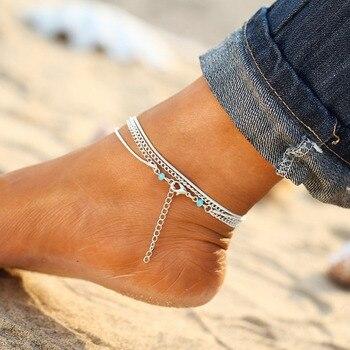 Minimalism Multilayer Silver Anklet 1