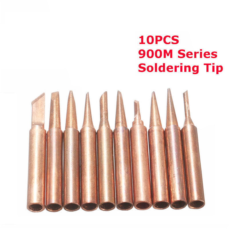10Pcs/set Pure Copper Soldering Iron Tip Low Temperature Solder Tips Soldering Station Tool 900M-T Electric Iron Head Tool Kits