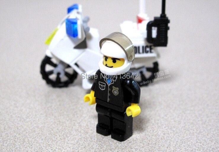 Free Shipping !Best Sale KAZI 30pcs/set Childrens DIY Police Motorcycle Educational Assembly Block Brick Toy Set No. 6734,