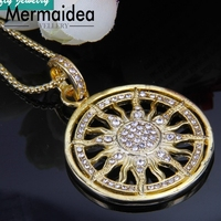 Trendy Style Gold Color Sun Pendant Necklace Zirconia Pave 2019 New Brand Cool Jewelry Women Christmas Gifts Collier