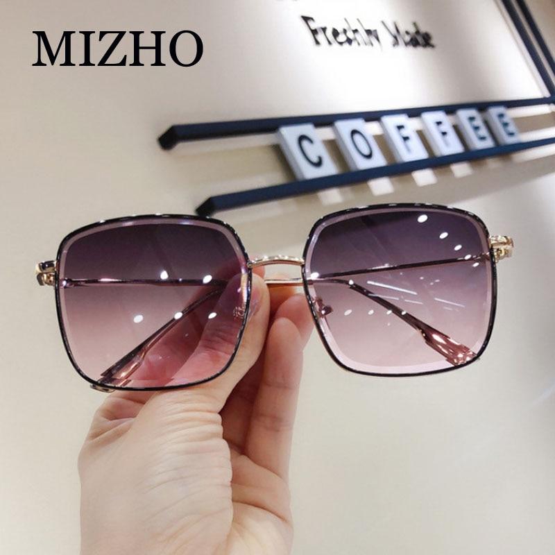 MIZHO Luxury Brand Metal Sunglasses Women Square Fashion Rhinestone Cutting Gradient Grey Vintage Sun Glasses Ladies Trendy