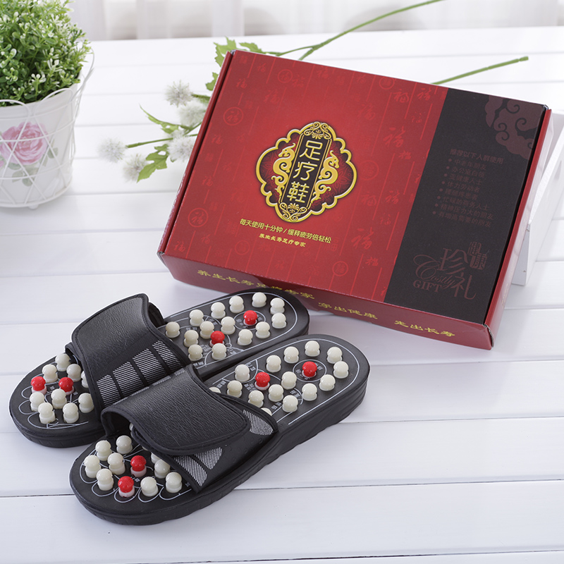 b04 Natural agate massage slippers cobblestone massage shoes Foot acupuncture point massage Home slippers natural cobblestone jade massage foot soles the feet acupoint massage eliminate fatigue wooden soles 24 27cm