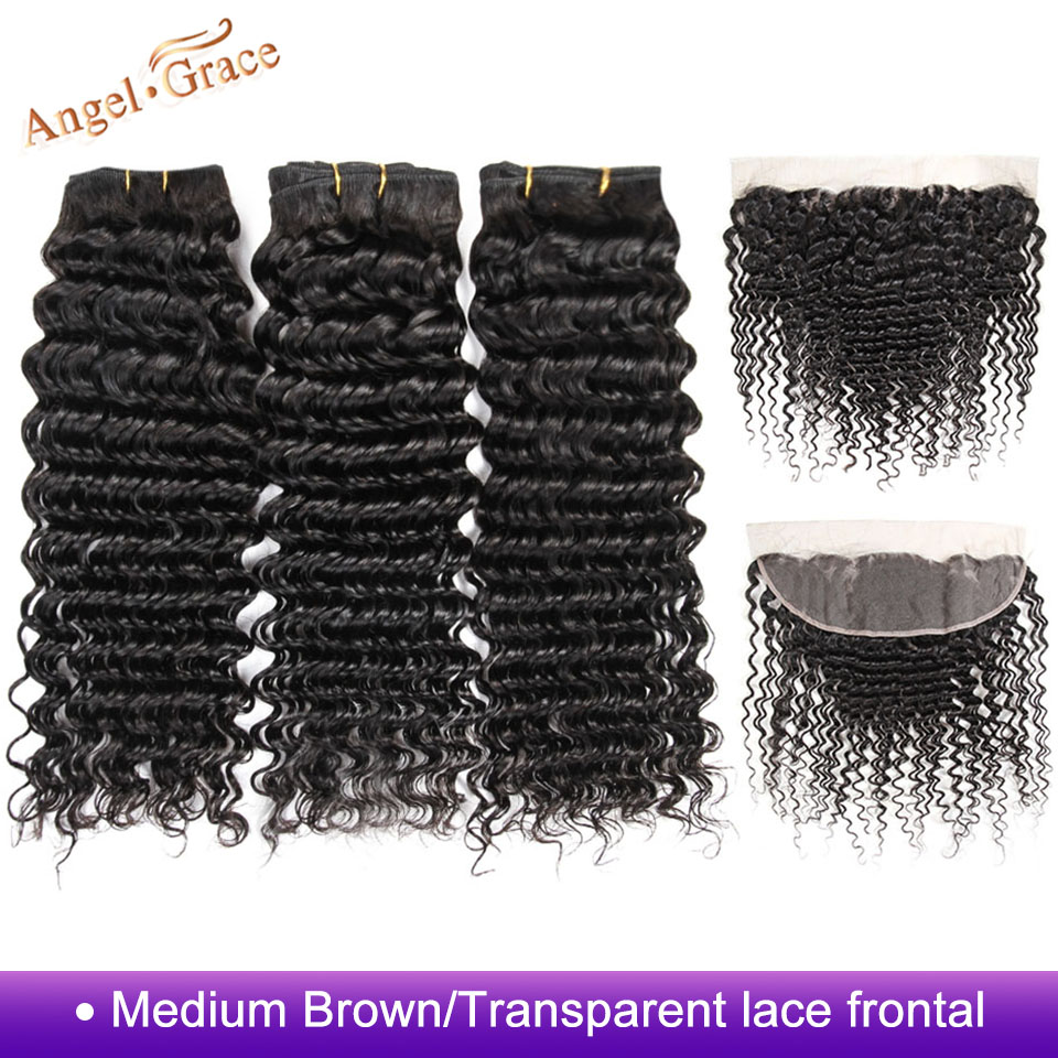 Brazilian Deep Wave Hair Bundles With Closure Frontal Ear To Ear Lace Frontal And 3 Bundles
