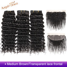 Tissage en lot Deep Wave brésilien Remy avec Closure Frontal – Angel Grace Hair, d'une oreille à l'autre, et 3 lots