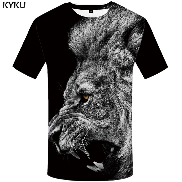 2627b32d8305 KYKU Lion T shirt Black Clothing Animal Tshirt Design T-shirt shirts Plus  Size Men
