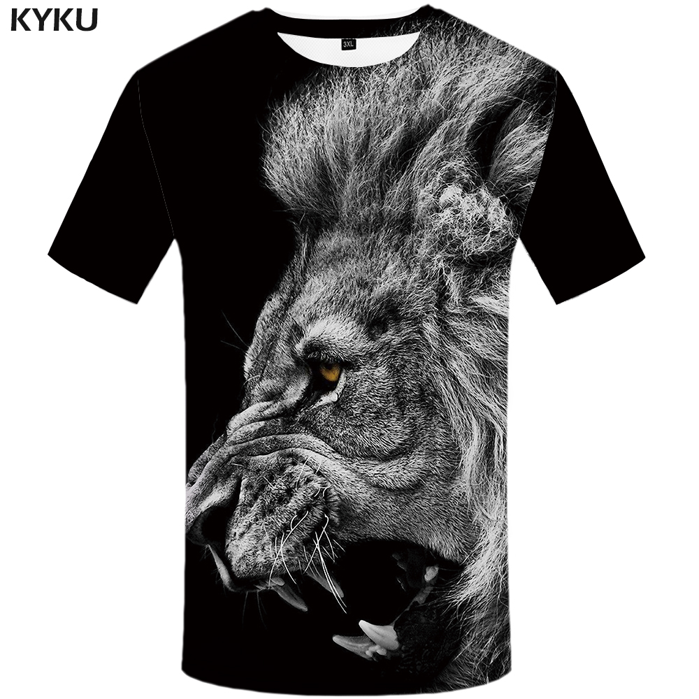KYKU Lion   T     shirt   Black Clothing Animal Tshirt Design   T  -  shirt     shirts   Plus Size Men Mens Tops Tees Fashion XS-8XL