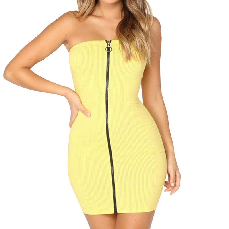 Sexy Bodycon Dress Women Summer 2018 Tube Top Strapless Mini Desses Long Zipper Yellow Skinny Stretch Party Clothing