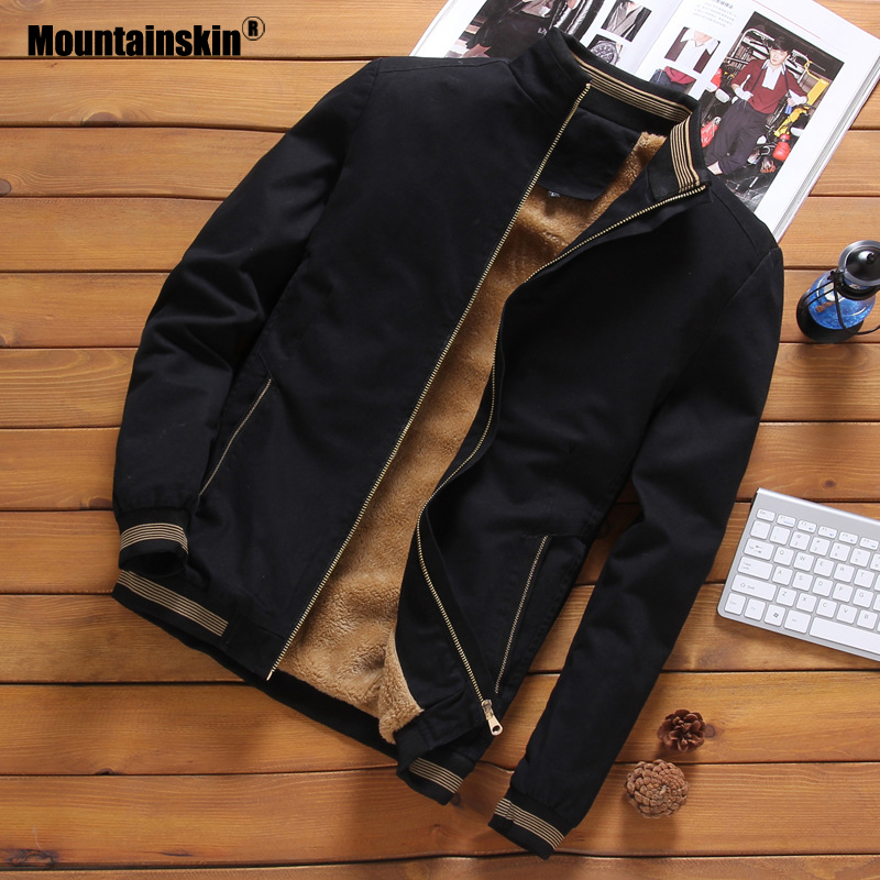 Mountainskin Fleece Jackets Mens Pilot Bomber Jacket Warm Male Fashion Baseball Hip Hop Coats Slim Fit Coat Brand Clothing SA690