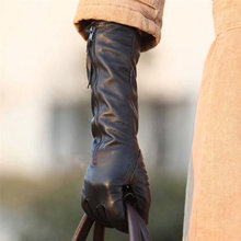 Women #8217 s Genuine Leather Gloves Female Autumn Winter Black Sheepskin Gloves Zipper Long Style Five Fingers Thin Velvet L031NQ cheap Midnight Heartbeat Adult Solid Elbow Gloves Mittens Fashion S M L XL Women s Gloves Full Finger Gloves No Touchscreen