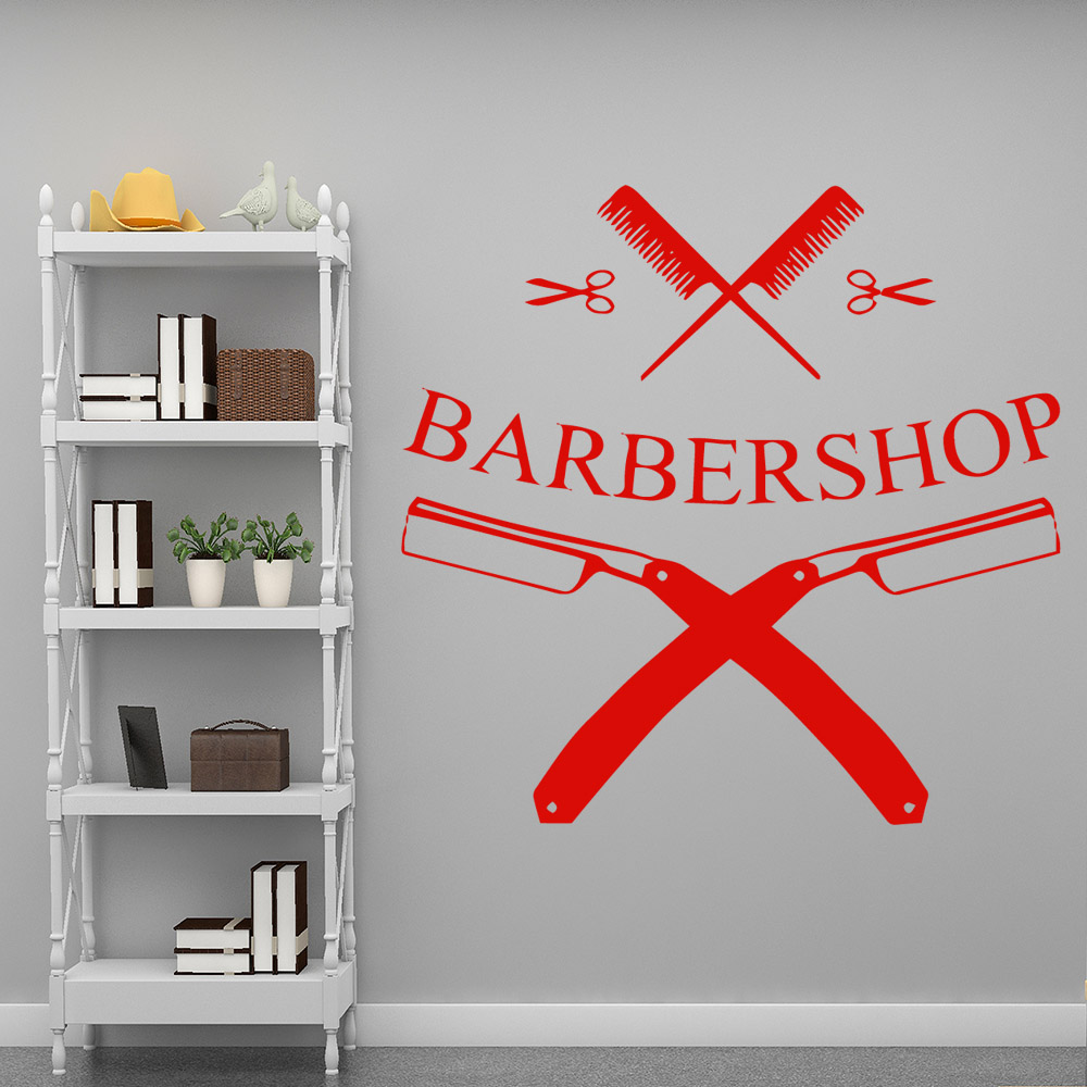 Free Shipping Barber Shop Wall Stickers Modern Interior Art Wall Decoration For Kids Rooms Nursery Room Decor Wall Decoration in Wall Stickers from Home Garden