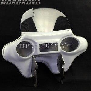 Image 3 - Carénage pour phare avant en plastique ABS blanc détachable avec support de pare brise, pour Harley Touring Road King 94 13