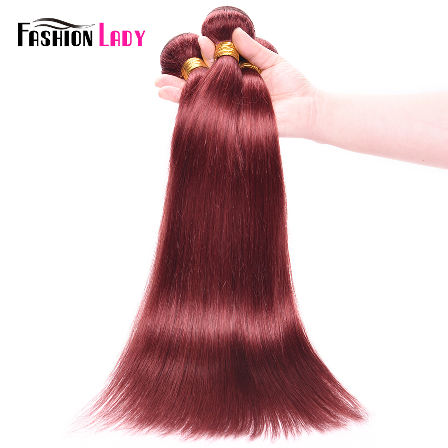 FASHION LADY Pre-Colored Human Hair Weave Peruvian Straight Hair #33 Rich Burgundy Hair Weave 1/3/4 Bundle Per Pack Non-Remy