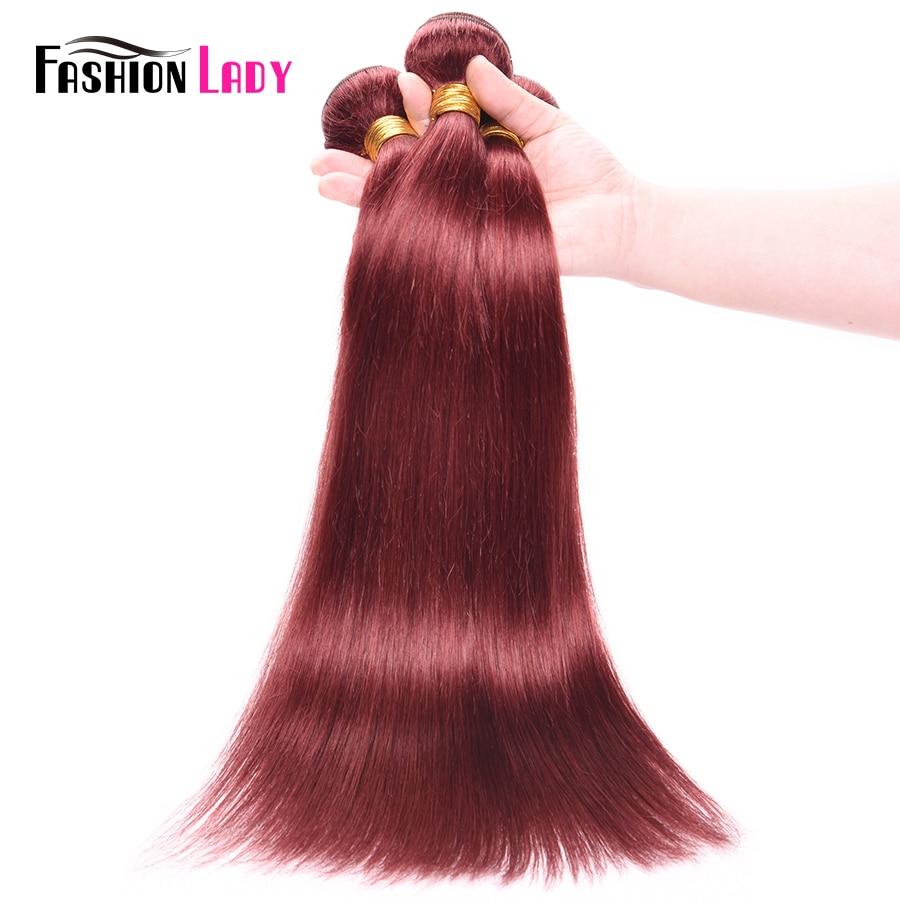 FASHION LADY Pre-Colored Human Hair Weave Peruvian Straight Hair #33 Rich Burgundy Hair Weave 1/3/4 Bundle Per Pack Non-Remy