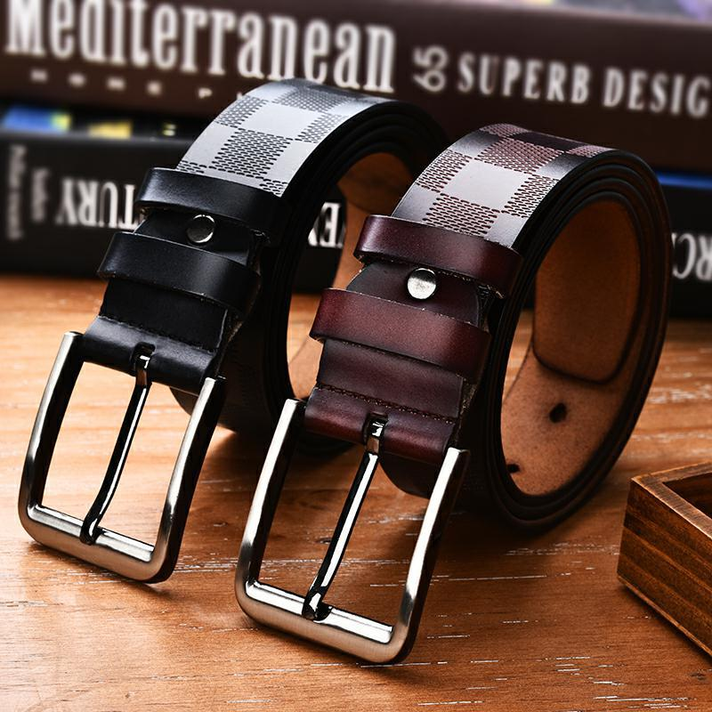 2018 New Arrival Genuine Leather   Belts   Cowhide Business Pin Buckle   Belt   Leisure Fashion High Quality Plaid Waist   Belt   105 to 125
