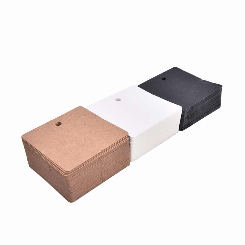 100 Pcs 6*6 centímetros DIY Etiquetas De Papel Kraft Marrom Bagagem Etiqueta Nota Do Casamento Em Branco Preço Pendure Tag Kraft evento & Party Supplies presente