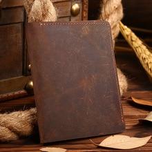 Luxury Designer Vintage Handmade 100% Genuine Crazy Horse Leather Cowhide Men Short Brown Wallet Purse Card Holder Wallets Men