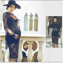 Fashion New Maternity Photography Props Clothes For Pregnant Women Dress Pregnancy Clothing Hat photo shoot Black Long Culottes