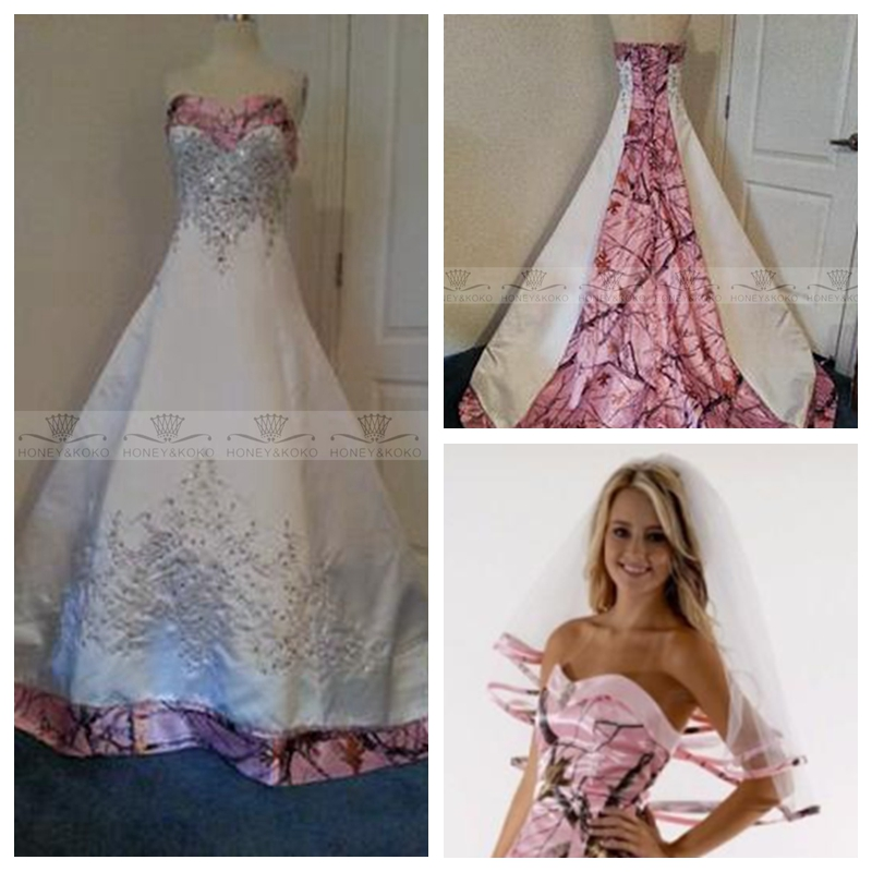 2017 New Fashion With Veil Pink Camo A Line Wedding Dress Camouflage Beaded Bridal Gowns Real Tree Vestidos De Novia Plus Size