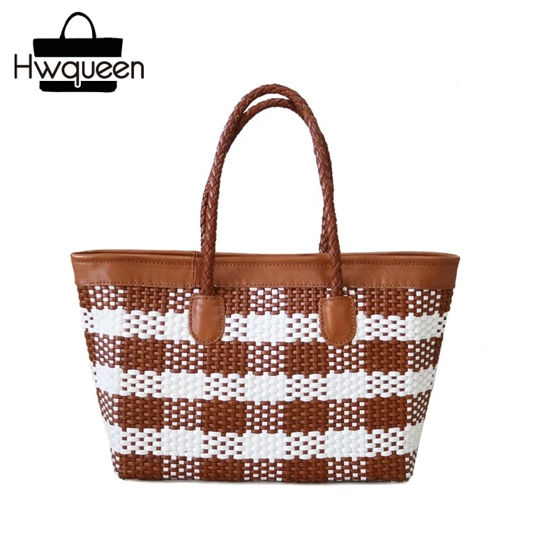 Vintage Checkered Designer Genuine Cow Leather Zipper Closure Lady Large Totes Female Knitted Handbag Top-handle Women Purse BagVintage Checkered Designer Genuine Cow Leather Zipper Closure Lady Large Totes Female Knitted Handbag Top-handle Women Purse Bag