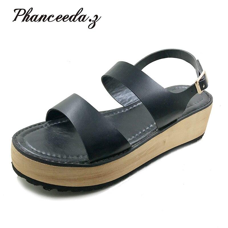 New 2018 Fashion Cutouts Women Sandals Open Toe Low Wedges Bohemian Summer Shoes Women Sandals Beach Free Shipping Size 6-10