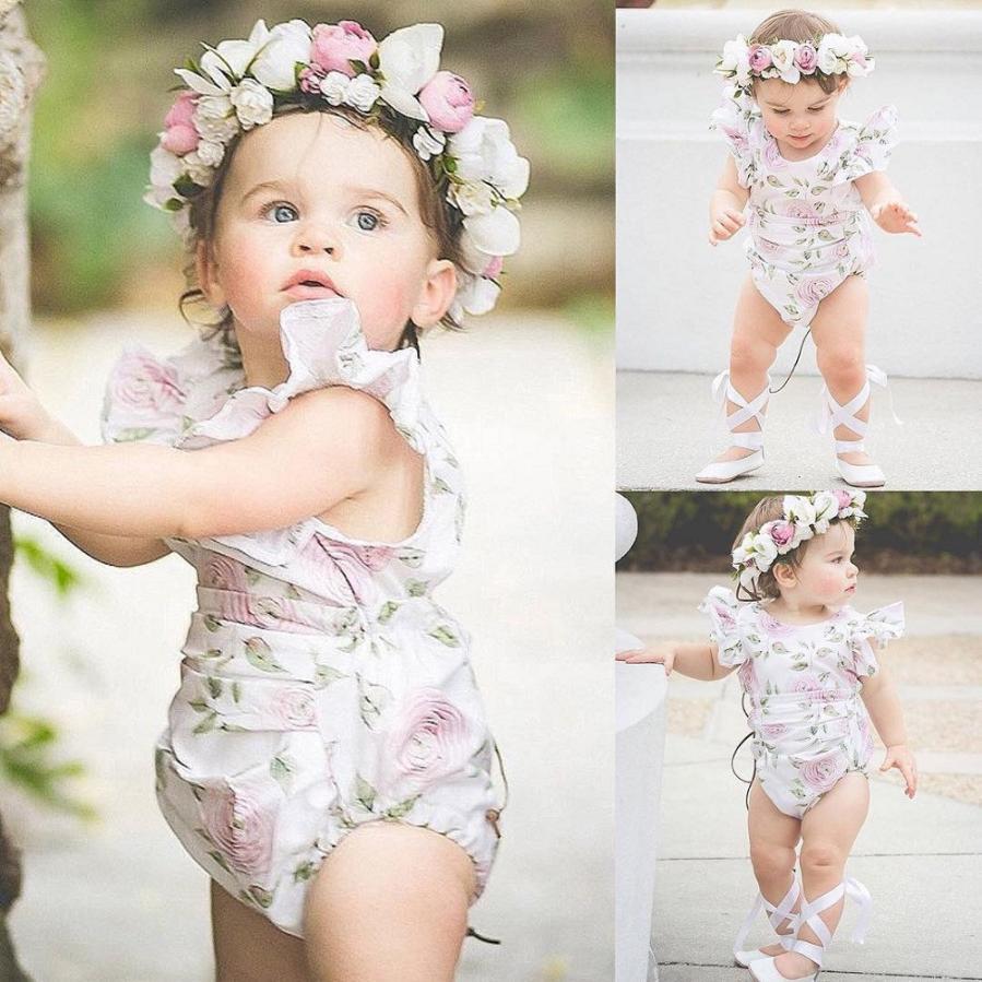 Newborn Infant Baby Girl Romper Floral print Backless wedding party Romper summer Jumpsuit Sunsuit Vestidos Photography Props