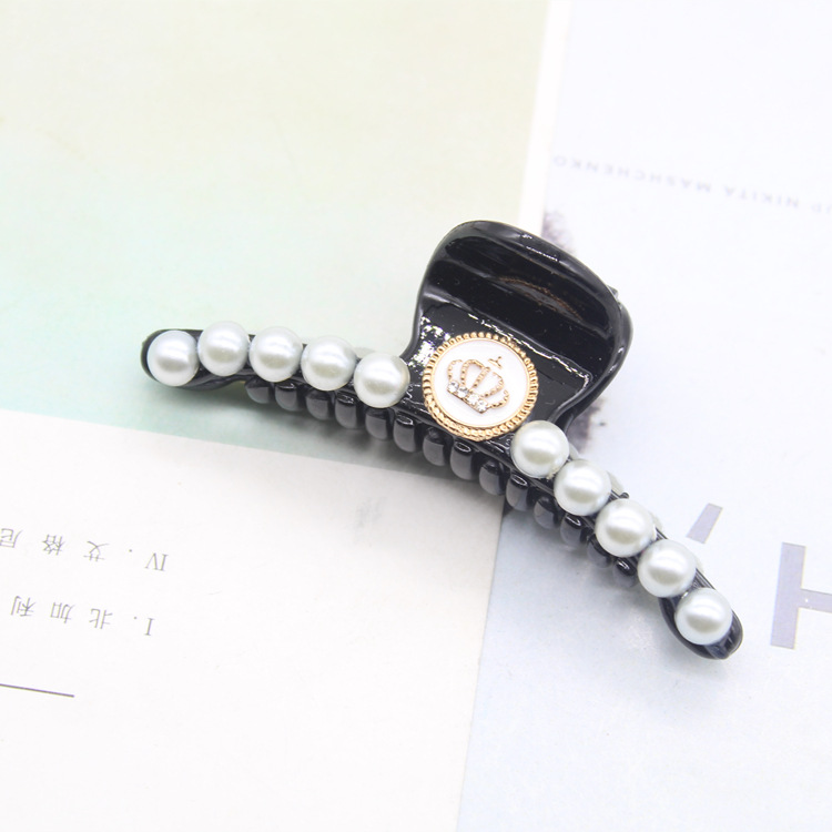 Luxury Pearls Hairpins Hair Ornaments Trendy Hair Clip Shiny Rhinestone Crab Hair Claws For Women Girl Accessories Headwear in Women 39 s Hair Accessories from Apparel Accessories