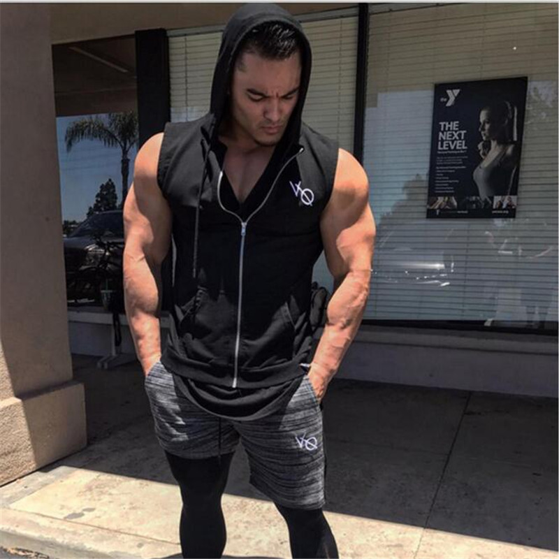 Men Sport Top Zip Up Sleeveless hooded Jacket Sweatshirts Sport Jerseys Male Running Jogger Casual Fitness Gym Shirt Sportswear in Trainning Exercise T shirts from Sports Entertainment
